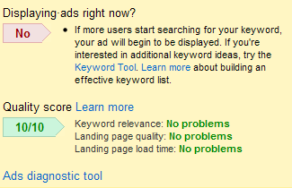 google adwords ad diagnostic tool